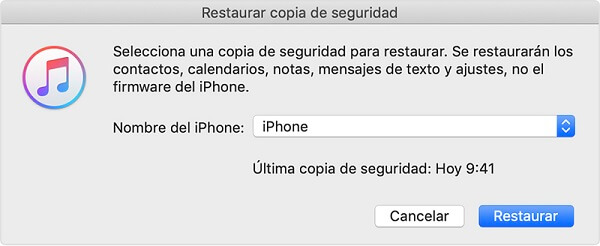 confirmar el iphone para restaurar