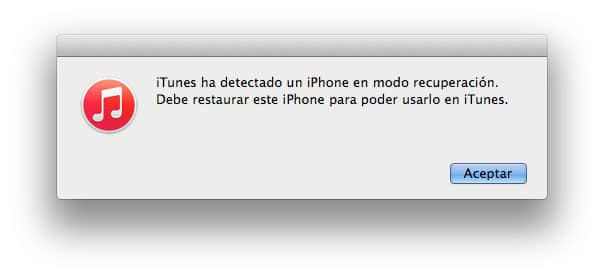 iTunes ha detectado un iPhone en modo DFU