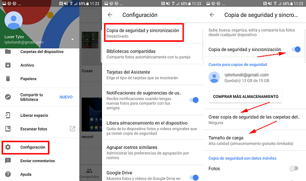 Google Photos Copia sincronización