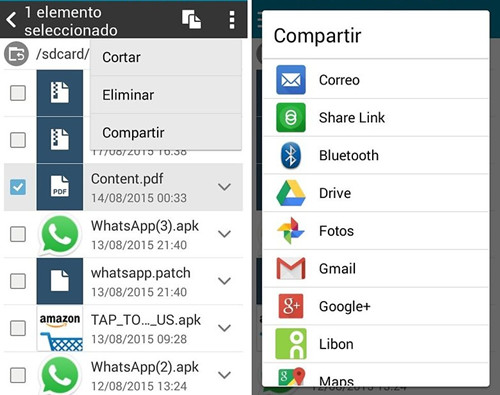 compartir archivos via Bluetooth